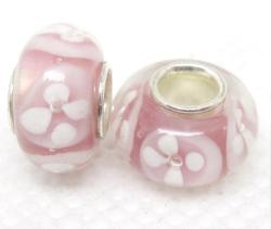 Murano Inspired Glass Purple and White Flower Charm Beads (Set of 2)