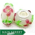 Murano Inspired Glass White and Red Flower Charm Beads (Set of 2)