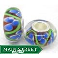 Murano Inspired Glass Plum/Blue/White Flower Charm Beads (Set of 2)