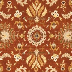 Handmade Majesty Rust/ Beige New Zealand Wool Rug (8' x 11'2)