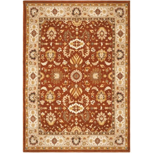 Safavieh Handmade Majesty Rust/ Beige New Zealand Wool Rug (4' x 5'6)