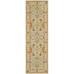 Handmade Majesty Light Blue/ Ivory N. Z. Wool Runner (2'3 x 7'6)