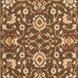 Handmade Majesty Brown/ Light Blue N. Z. Wool Runner (2'3 x 7'6)