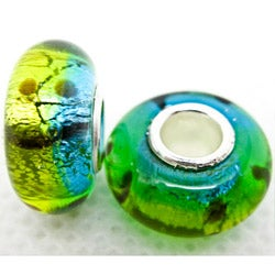 Murano Inspired Glass Yellow/Green/Blue Foil Charm Beads (Set of 2)