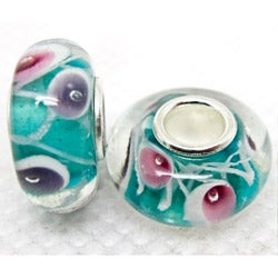 Murano Inspired Glass Blue/Pink/Purple Tulip Charm Beads (Set of 2)