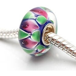 Murano Inspired Glass Pink and Green Charm Beads (Set of 2)