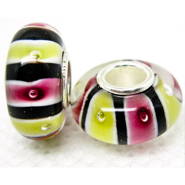 Murano Inspired Glass Black/Pink/Yellow Stripe Charm Beads (Set of 2)