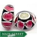 Murano Inspired Glass Black and Pink Petals Charm Beads (Set of 2)