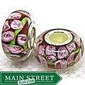 Murano Inspired Glass Brown/Green/PInk Flower Charm Beads (Set of 2)