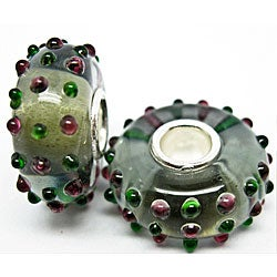 Murano Inspired Glass Pink and Green Dots Charm Beads (Set of 2)
