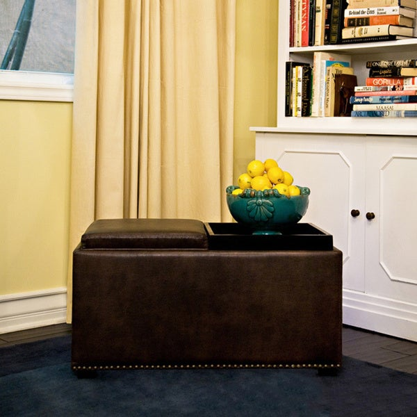 angelo:HOME Clarke Brown Renu Leather Double-tray Cube Ottoman