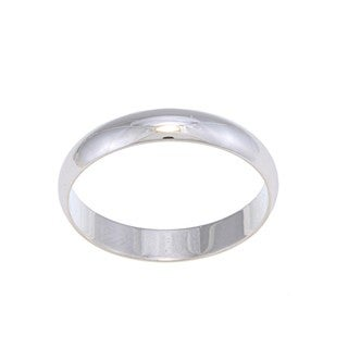 14k White Gold Men's Half-round Wedding Band