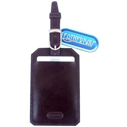 Leatherbay Burgundy Buff-calf Leather Luggage Tag with Rounded Edges