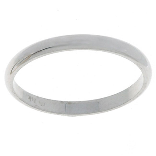 14k White Gold Men's Half-round 2-mm Wedding Band