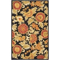 Hand Tufted Suzani Black Multicolor Floral Medallion Rug