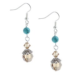 Crystal Created Stone Fashion Dangle Earrings
