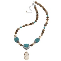 Crystale Created Stone Teardrop Fashion Necklace