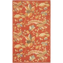 Handmade Blossom Botanical Rust Wool Rug (3' x 5')