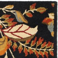 Safavieh Handmade Blossom Botanical Black Wool Rug (2'3 x 8')
