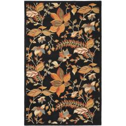Handmade Blossom Botanical Black Wool Rug (3' x 5')