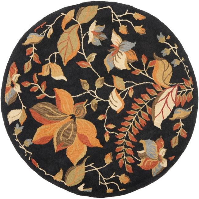 Safavieh Handmade Blossom Botanical Black Wool Rug (6' Round)
