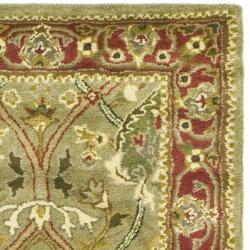 Handmade Mahal Green/ Rust New Zealand Wool Runner (2'6 x 20')