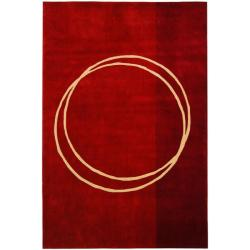 Handmade Rodeo Drive Circle of Life Red/ Ivory N.Z. Wool Rug (8' x 11')