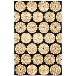 Safavieh Handmade Rodeo Dr. Floral Black/ Ivory N.Z. Wool Rug (7'6 x 9'6)