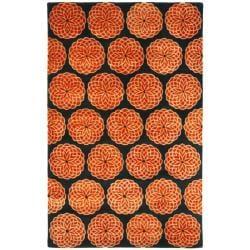 Safavieh Handmade Rodeo Drive Floral Black/ Rust N.Z. Wool Rug (3'6 x 5'6)