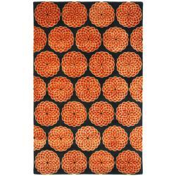 Safavieh Handmade Rodeo Drive Floral Black/ Rust N.Z. Wool Rug (5' x 8')