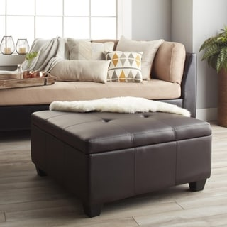 Vanderbilt Tufted Panel Stitched Padded Hinged 36-inch Square Storage Ottoman Bench