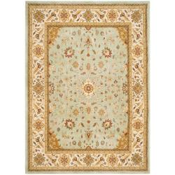 Handmade Majesty Light Blue/ Ivory N.Z. Wool Rug (5'3 x 7'6)