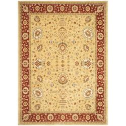 Handmade Majesty Gold/ Red New Zealand Wool Rug (5'3 x 7'6)