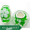 Murano Inspired Glass White Flower and Green Charm Beads (Set of 2)