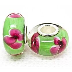 Murano Inspired Glass Hot Pink Flowers/ Green Charm Beads (Set of 2)