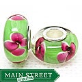 Murano Inspired Glass Hot Pink Flowers/ Green Charm Beads (Set of 2)