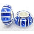 Murano-inspired Glass Blue and White Charm Beads (Set of 2)