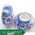 Murano-inspired Glass Blue/ White Swirls Charm Beads (Set of 2)