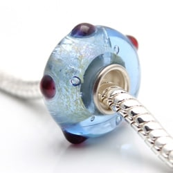 Murano Inspired Glass Pale Blue Textured Dots Charm Beads (Set of 2)