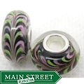 Murano Inspired Glass Pink/ Green/ Black Striped Charm Beads (Set of 2)