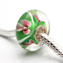 Murano Inspired Glass Green, White and Pink Charm Beads (Set of 2)