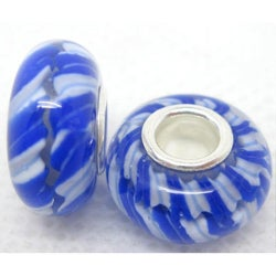 Murano Inspired Glass Aqua and Blue Helix Charm Beads (Set of 2)