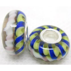 Murano Inspired Glass Blue/Yellow/White Helix Charm Beads (Set of 2)