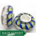 Murano Inspired Glass Blue/Yellow/White Helix Charm Beads (Set of 2)