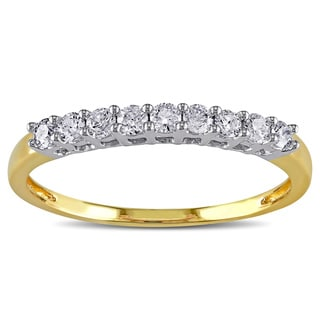 Miadora 14k Two-tone Gold 1/4ct TDW Diamond Anniversary Ring (G-H, I2-I3) with Bonus Earrings