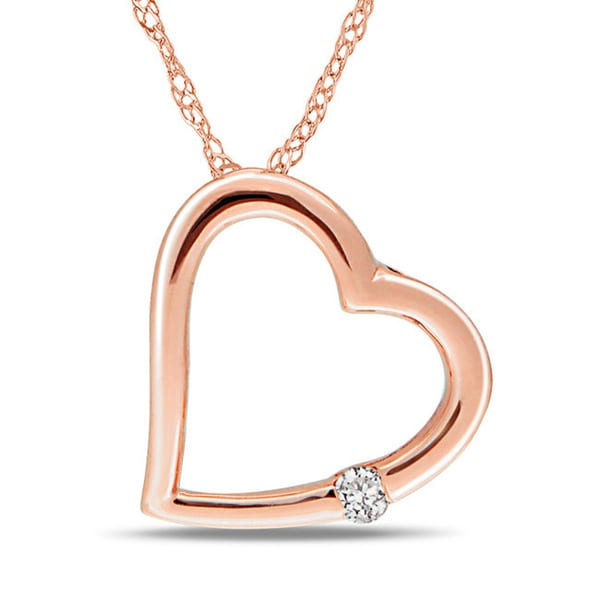 Haylee Jewels 10k Pink Gold Diamond Accent Heart Necklace