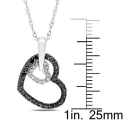 Miadora 10k White Gold 1/3ct TDW Black and White Diamond Heart Necklace (G-H, I2-I3)