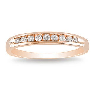 Miadora 10k Rose Gold 1/4ct TDW Diamond Wedding Band (G-H, I2-I3)