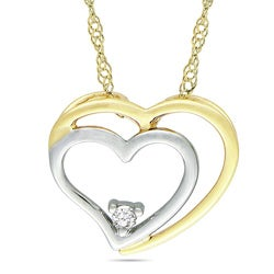 Miadora 10k Yellow Gold Diamond Accent Double Heart Necklace