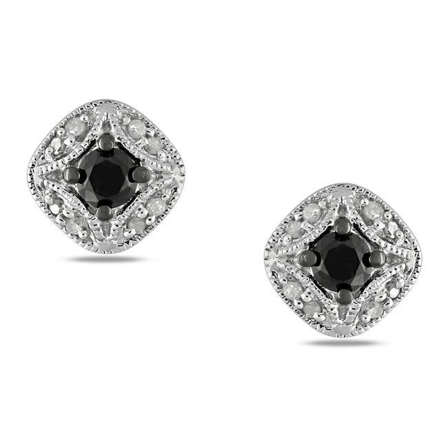 Miadora Sterling Silver 1/2ct TDW Black and White Diamond Earrings (G-H, I2-I3)